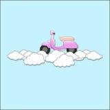 Motorino che galleggia sulla nuvola Fotografia Stock Libera da Diritti