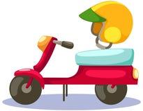 Motorino con il casco su bianco Immagini Stock Libere da Diritti