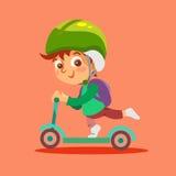 Motorino divertente del bambino di guida del ragazzino Immagini Stock Libere da Diritti