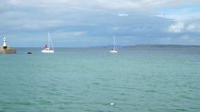 Motorisierte schwarze Gummibootsflöße hinunter die Bucht im Hintergrund der Yachten stock video