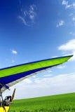 Motorisiertes Bedeutungssegelflugzeug über grünem Gras Stockfotografie