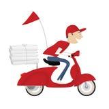 Motorisk cykel för rolig ridning för pizzaleveranspojke Arkivbild