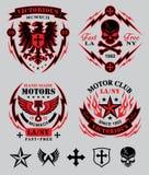 Motorisk klubbaemblemuppsättning Arkivfoton