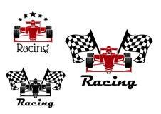 Motoriska tävlings- sportsymboler med racerbilar Arkivbild