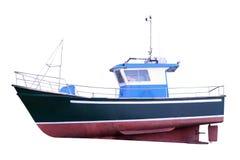 Motoriskt fartyg som isoleras på en vit bakgrund arkivfoto