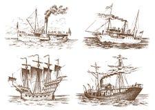 Motoriskt skepp i havet, sommaraffärsföretag, aktiv semester Den sjögående skytteln med ångarök från röret som är nautiskt seglar vektor illustrationer