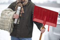 Motorist Holding Blanket And Thermos In Case Of Winter Breakdown Royalty Free Stock Photo