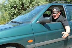 Motorista agressivo Fotografia de Stock Royalty Free