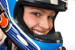 Motorista bonito feliz. Foto de archivo