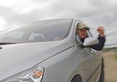 Motorista com punho Foto de Stock