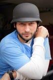 Motorista con el casco Imágenes de archivo libres de regalías