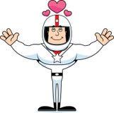Motorista de carro de corridas Hug dos desenhos animados ilustração royalty free