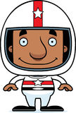Motorista de carro de corridas de sorriso Man dos desenhos animados Imagens de Stock Royalty Free