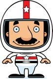 Motorista de carro de corridas de sorriso Man dos desenhos animados Imagem de Stock