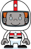 Motorista de carro de corridas de sorriso Orangutan dos desenhos animados Imagens de Stock
