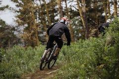 Motorista de la montaña del atleta abajo de la montaña Fotos de archivo libres de regalías