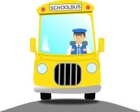 Motorista de ônibus escolar em um ônibus escolar amarelo Foto de Stock Royalty Free