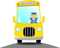Motorista de ônibus escolar fêmea em um ônibus escolar amarelo Fotos de Stock Royalty Free
