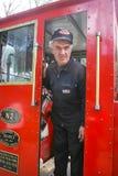 Motorista do trem na cabine Fotos de Stock