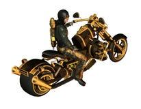 Motorista en una motocicleta Steampunk Imagen de archivo libre de regalías
