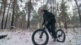 Motorista extremo profesional del deportista que monta una bici gorda en aire libre El paseo del ciclista en el hombre del bosque almacen de video