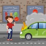 Motorista fêmea que chama para a ajuda após o acidente de trânsito, carro ardente, ilustração do vetor dos desenhos animados do s ilustração royalty free