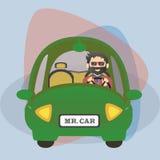 Motorista liso do personagem de banda desenhada no carro Fotos de Stock Royalty Free