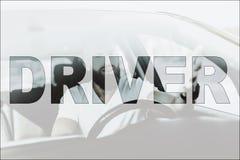 Motorista masculino novo da colagem no carro luxuoso moderno imagens de stock