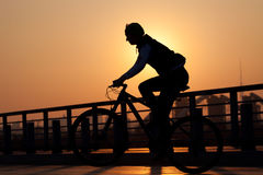 Motorista-muchacha en la puesta del sol en el prado Imagenes de archivo