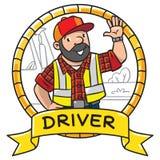 Motorista ou trabalhador engraçado emblema ilustração stock