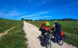 Motorista por Camino de Santiago en bicicleta foto de archivo libre de regalías