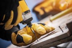 Motorista Work da madeira e da broca imagens de stock royalty free