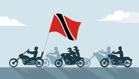 Motoristas con la bandera de Trinidad and Tobago libre illustration