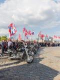 Motoristas en el evento patriótico en la colina de Poklonnaya en Moscú Fotografía de archivo libre de regalías