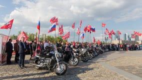 Motoristas en el evento patriótico en la colina de Poklonnaya, Moscú Imágenes de archivo libres de regalías