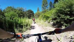 Motoristas que montan la bici de montaña en el camino forestal peligroso en el paisaje asombroso de la naturaleza del barranco de almacen de video