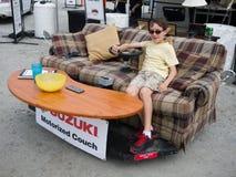 Motorized Couch Potato. Suzuki's motorized coach makes a visit to the Champlain Valley Fair, Essex Junction, Vermont stock photos