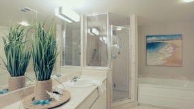 Motorized dolly shot of bathroom interior stock footage