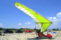 Motorized hang glider on the beach Stock Photography