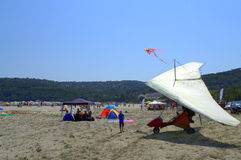 Motorized hang glider on the beach Royalty Free Stock Photo