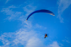 Motorized hang glider 4. Motorized hang glider flying 4 royalty free stock images