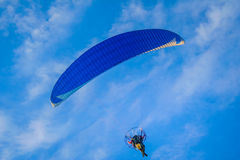 Motorized hang glider 3. Motorized hang glider flying 3 Royalty Free Stock Images