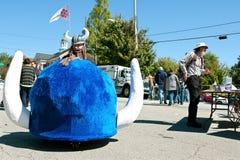Motorized Horned Viking Helmet Promotes College Technology Program Stock Images