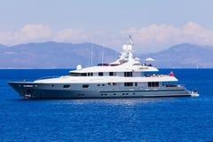 Motorized luxury yacht. Cruising in the Mediterranean sea stock photos