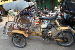 Motorized ricksaw. Motorized rickshaw into transport in rural areas in Sragen, Central Java, Indonesia Royalty Free Stock Photography