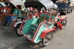 Motorized ricksaw. Motorized rickshaw into transport in rural areas in Sragen, Central Java, Indonesia Stock Images