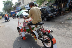 Motorized ricksaw. Motorized rickshaw into transport in rural areas in Sragen, Central Java, Indonesia Stock Photos