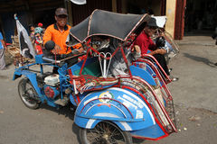 Motorized ricksaw. Motorized rickshaw into transport in rural areas in Sragen, Central Java, Indonesia Royalty Free Stock Photos