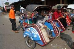 Motorized ricksaw. Motorized rickshaw into transport in rural areas in Sragen, Central Java, Indonesia Stock Image
