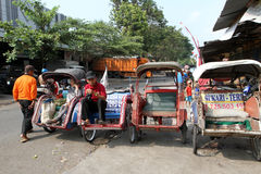 Motorized ricksaw. Motorized rickshaw into transport in rural areas in Sragen, Central Java, Indonesia Royalty Free Stock Image